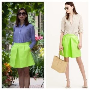 J.Crew Pleated Front Mini Skirt in Neon Green
